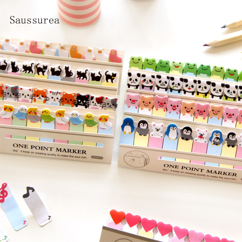 Sticker Heart Cute Sticky Post Its Memo Pad Sticky Notes Frog Cartoon Bear Cat Heart Stickers Office School Stationery Stickers