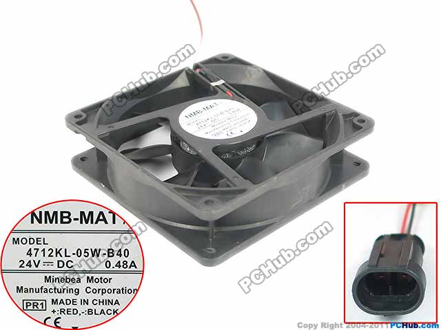 NMB-MAT 4712KL-05W-B40 PR1 Server Square Fan DC 24V 0.48A 120x120x32mm 2-wire nmb mat 3110kl 04w b49 b02 b01 dc 12v 0 26a 3 wire server square fan