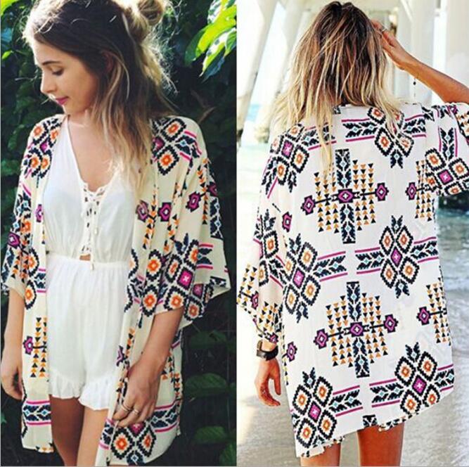 Women Shirt Kimono Boho Cardigan Vintage Geometric Print Blouse Loose Shawl Cape Knits Bohemian Coat Jacket