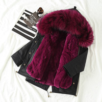 Baby Girl Winter Jacket 2019 Spring Real Fur Collar Boys Coats Winter Unisex Natural Rex Rabbit Fur Liner Parent child Parkas