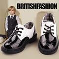 2016 Primavera Outono Crianças Sapatos Meninos Sapatos De Couro Formais Sapatos Oxford para o Casamento Crianças Sapatas Da Escola Preto
