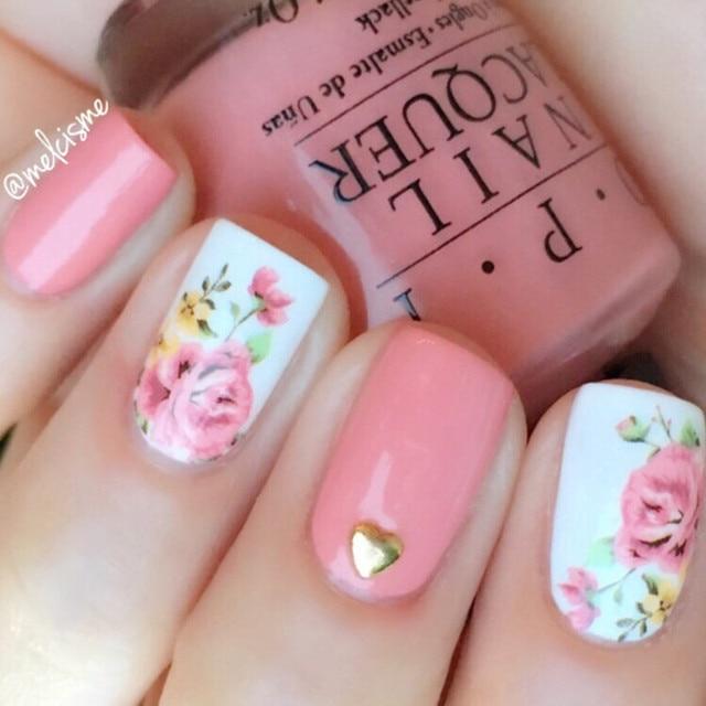 Born Pretty Pink Rose Flower Nail Stikcer Flamingo Water Decals