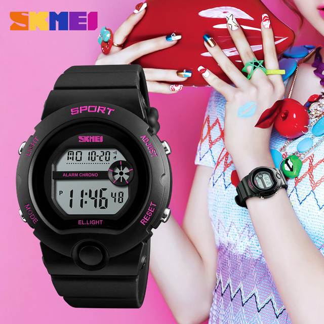 fe9dcc61d Fashion Women Sport Watches Brand SKMEI Silicone Waterproof LED Digital  Watch Girl Watch Luxury Outdoor Sports Watches For Women