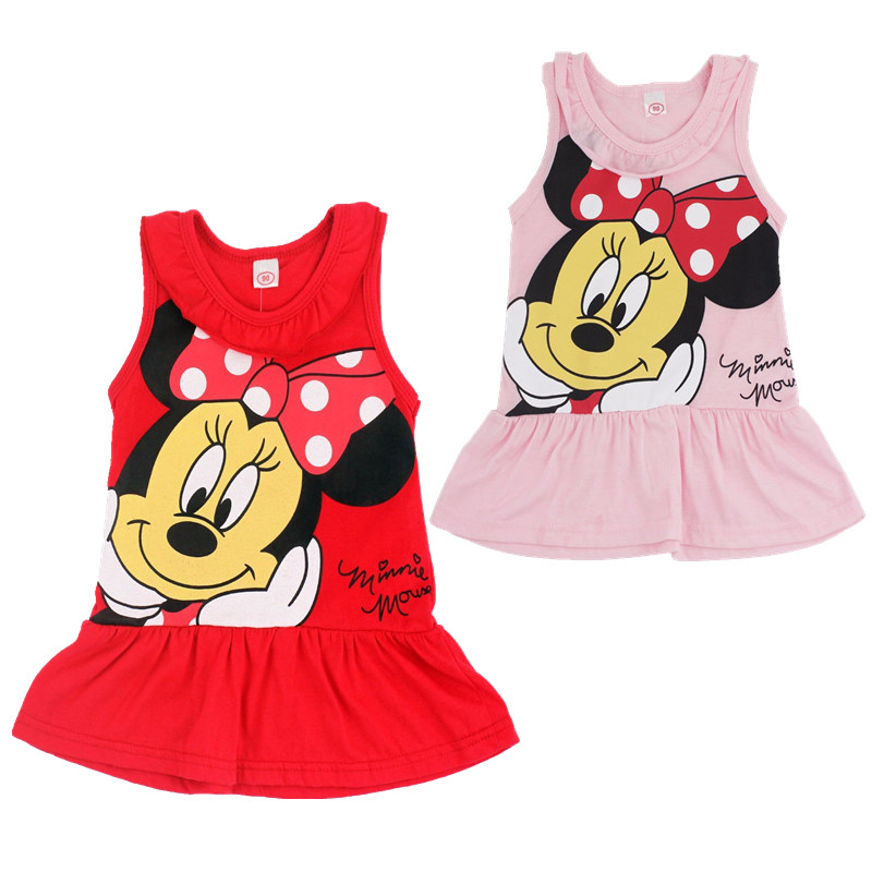 2019 girls cartoon Minnie print t-shirt dress children summer cotton Mickey Mouse casual dress suitable for 1-5 years old2019 girls cartoon Minnie print t-shirt dress children summer cotton Mickey Mouse casual dress suitable for 1-5 years old