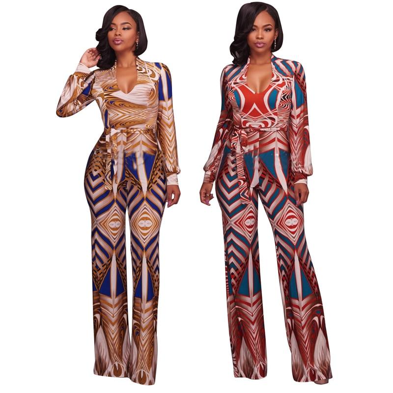 Plus Size Spring 2018 African Print Sexy Boho Maxi Bodysuit Strappy Wide Leg Rompers Womens Jumpsuit Combinaison Pantalon Femme