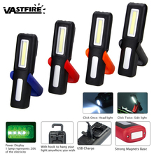VastFast Rechargeable Portable USB Hanging Light 2 Modes Lamp 3W COB LED Work Light Magnetic Flashlight Torch with Hook цена