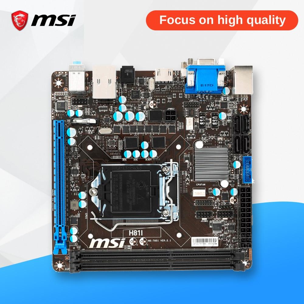 все цены на MSI H81I Desktop Motherboard H81 Socket LGA 1150 i3 i5 i7 DDR3 16G SATA3 USB3.0 Mini-ITX