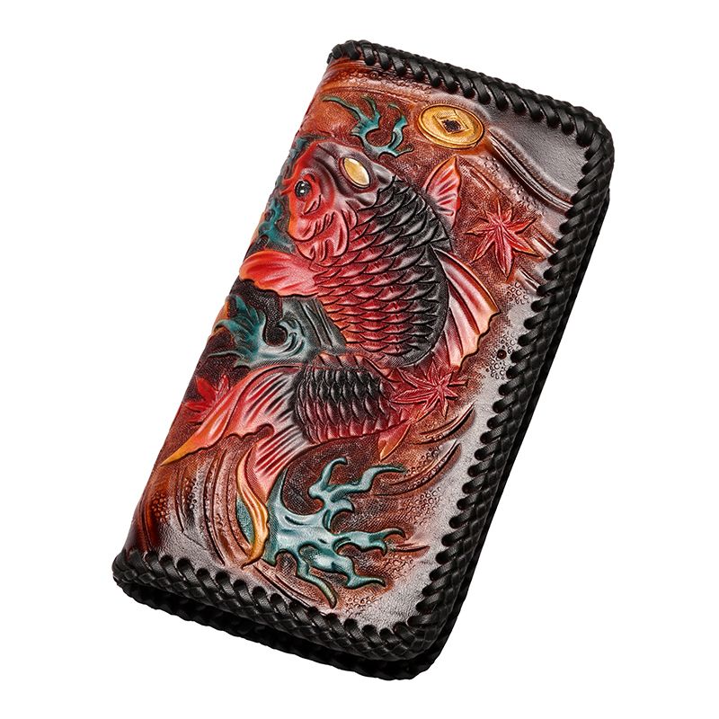 2018 Hand Engraving Men Genuine Leather Knitting Wallets Carving Carp Bag Purses Women Clutch Vegetable Tanned Leather Wallet brand double zipper genuine leather men wallets with phone bag vintage long clutch male purses large capacity new men s wallets