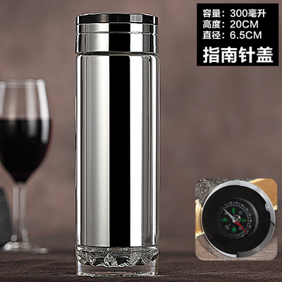 Hot Creative High end Double layer glass Compass Crystal gem Mirror lid water bottle with filter Fashion Upscale business bottle