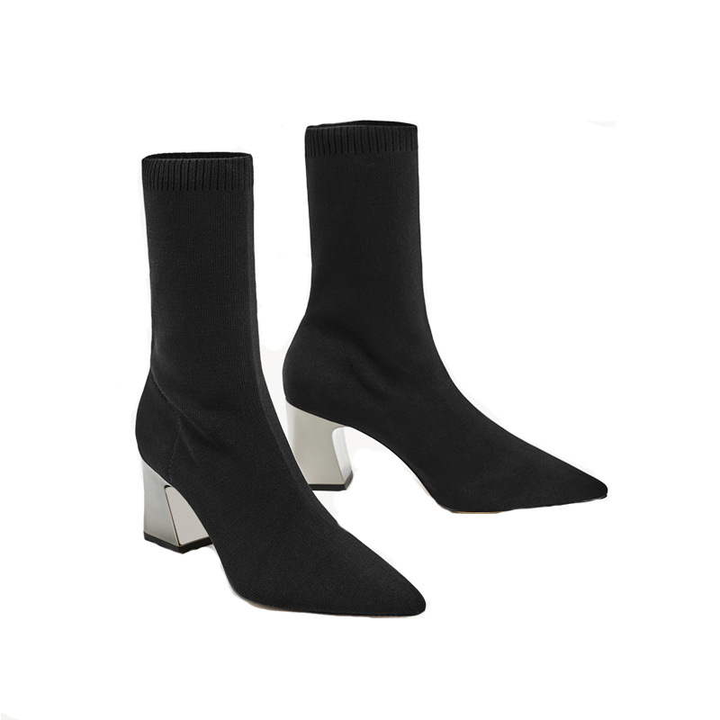 2017 autumn and winter new boots women thick wool knit socks boots pointed stretch boots