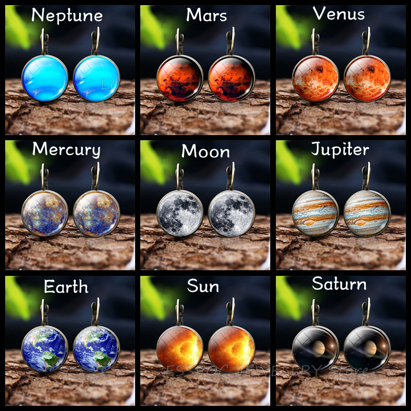 Fashion France Earring Solar System Planet Stud Earrings 16 MM Glass Cabochon Jewelry Moon Bronze Delicate Ear Hook Women Gift