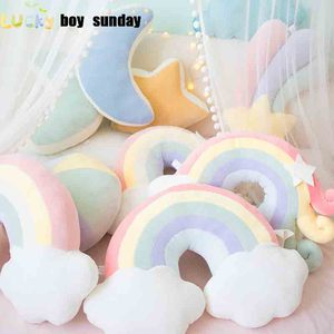 Lucky Boy Sunday Colorful Moon Rainbow Star Cloud Conch Plush Pillow Kids Plush Toys Soft Sofa Cushion Baby Sleeping Pillow Gift