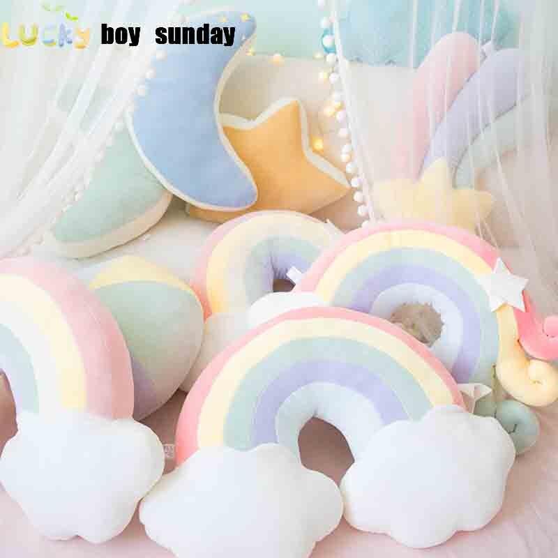 Lucky Boy Sunday Colorful Moon Rainbow Star Cloud Conch Plush Pillow Kids Plush Toys Soft Sofa Cushion Baby Sleeping Pillow Gift