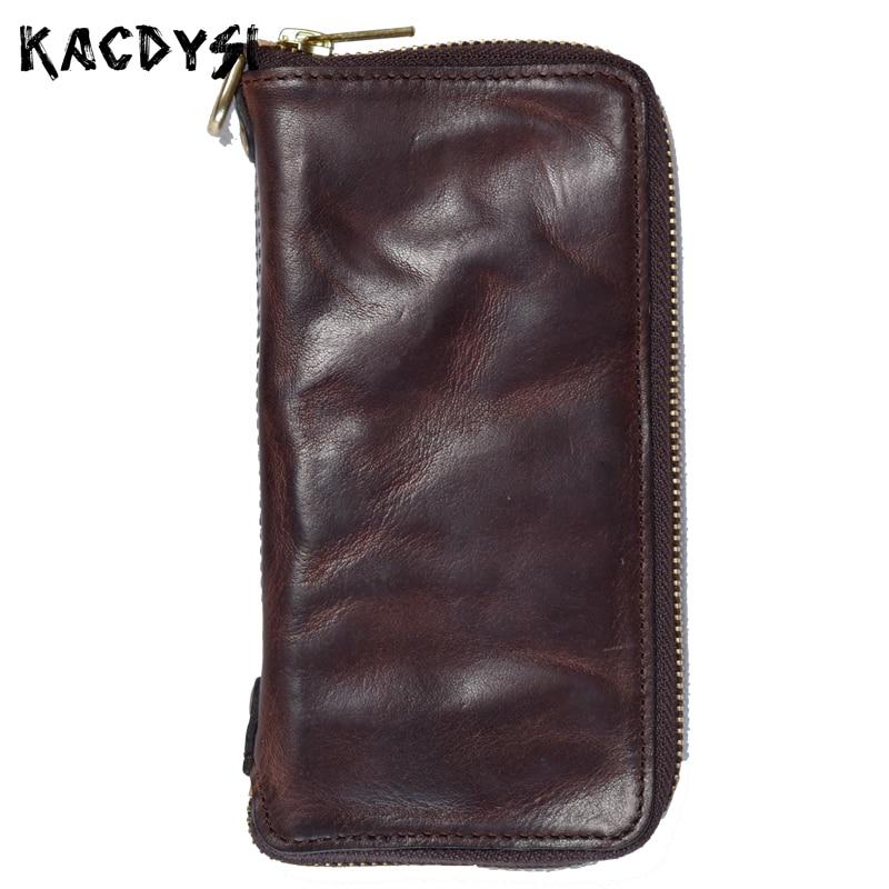 Unique Handmade 100 Genuine Cowhide Leather Men s Money Wallet Fold Retro Day Clutches Zipper Man