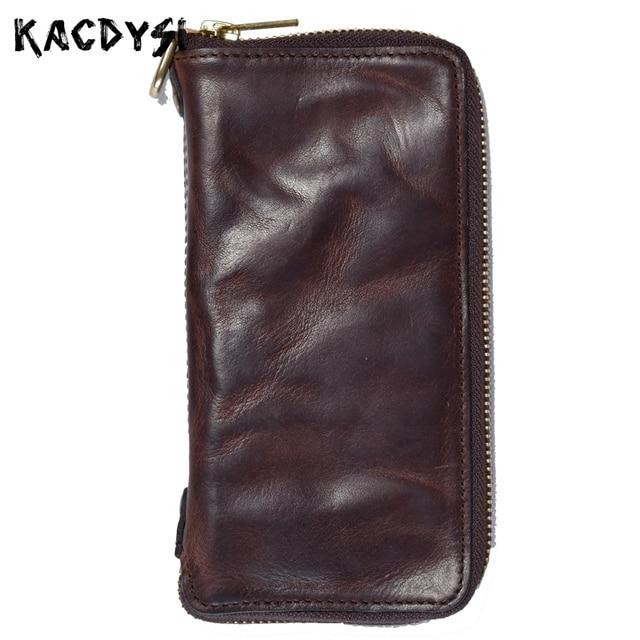 bc35bd8bf9 Unique Handmade 100% Genuine Cowhide Leather Men s Money Wallet Fold Retro  Day Clutches Zipper Man