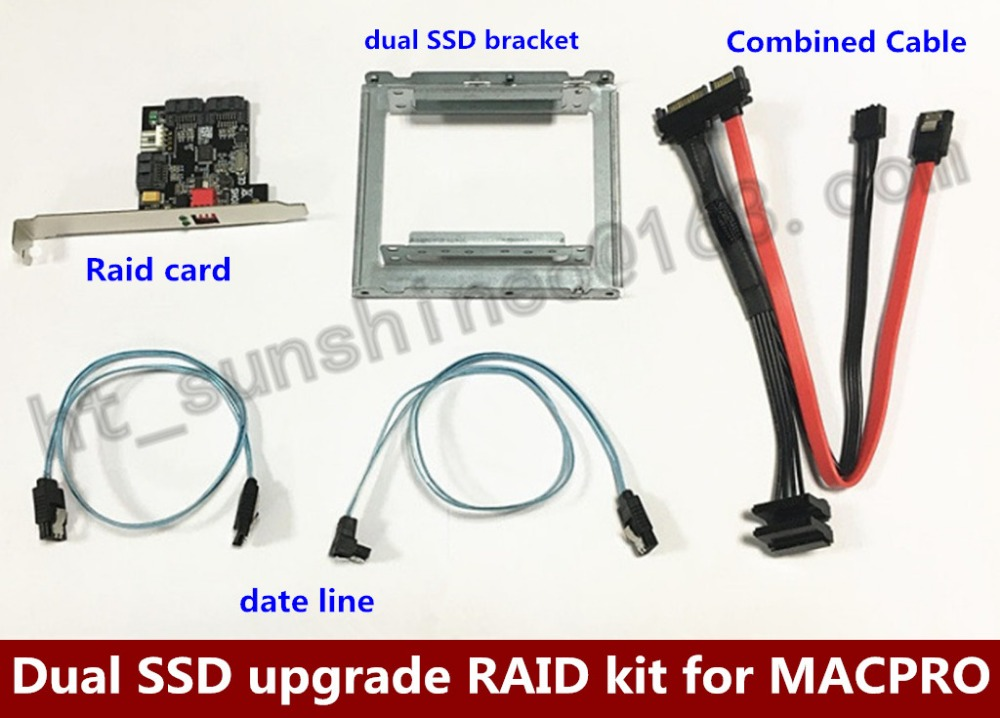 High Speed Dual SSD upgrade RAID kit for MacPro SATA II HW RAID card Support Raid 0/1 with combined cable serve raid card for 37l7258 37l6080 x205 4m