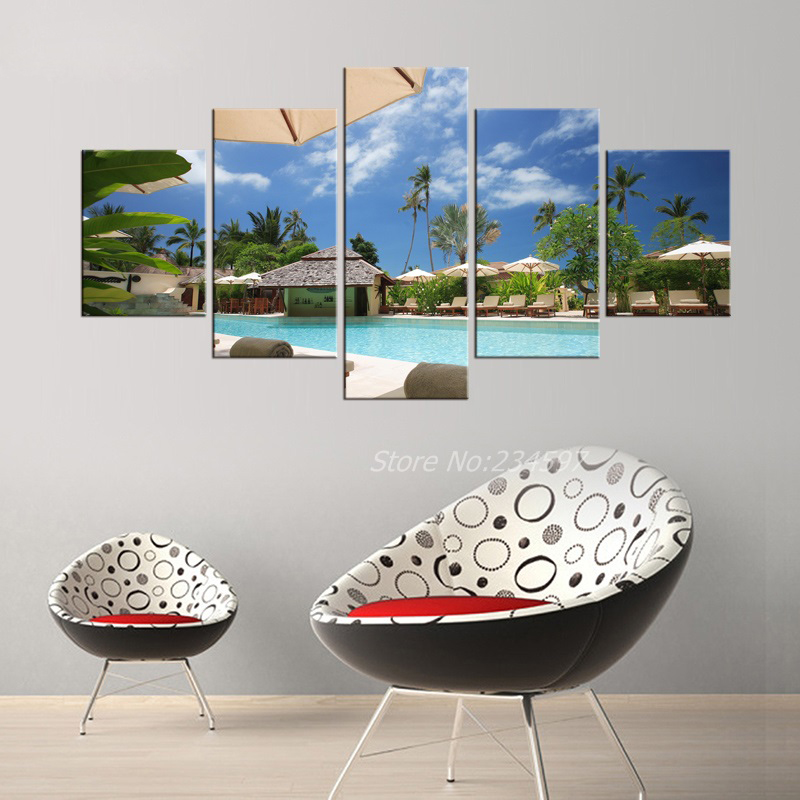 5 Pieces Free Shipping Canvas Art Tropical Island resort Painting Tropical Palm Tree Wall Pictures for Living Room Frameless