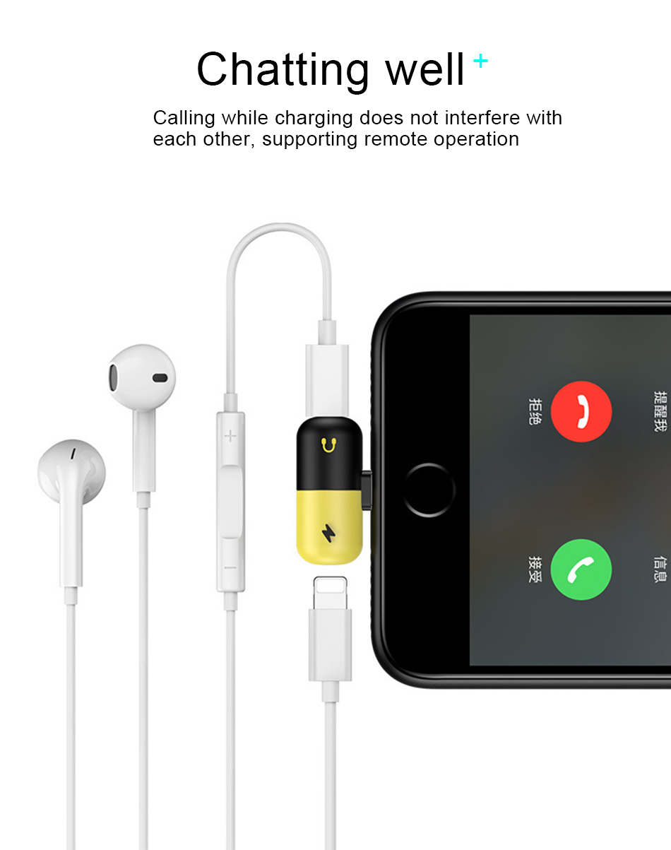!ACCEZZ Pill Shape 2 3 IN 1 Dual Lighting Quick Charging&Headphone Adapter For iphone X 8 7 Plus Jack to Earphone AUX Splitter (4)