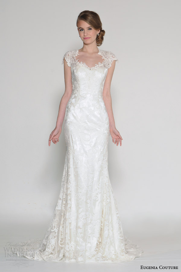Buy simple long lace sheer back mermaid for Simple long sleeve wedding dresses