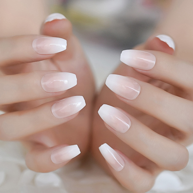 24pcs Gradient Jump Color White Coffin Fake Nails Beauty ...