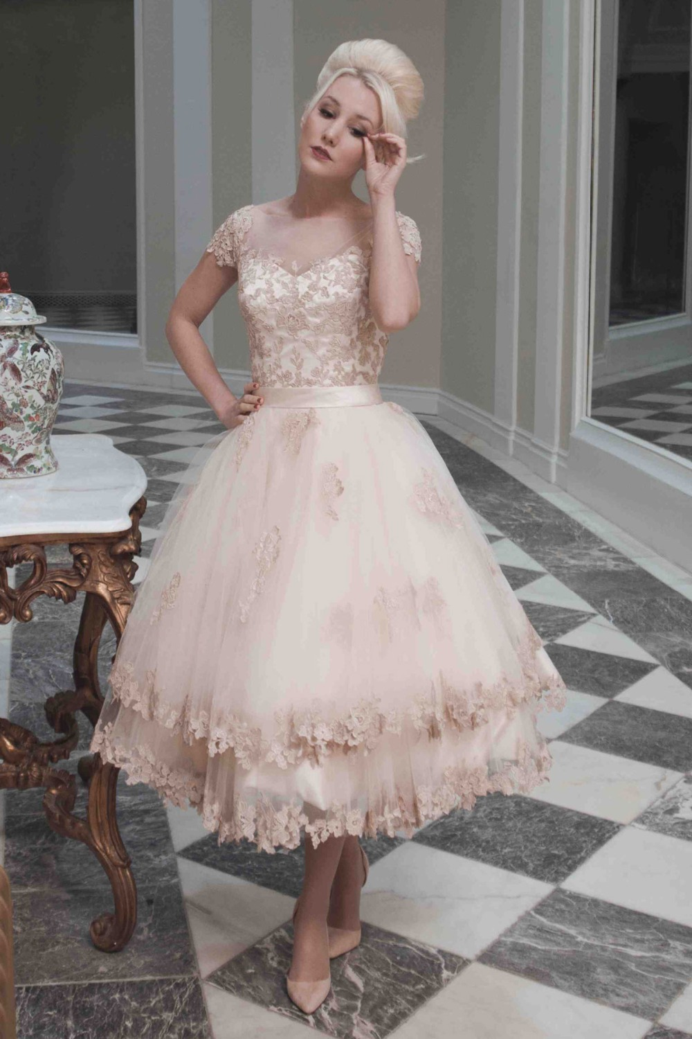 Popular champagne tea length wedding dresses buy cheap for Champagne tea length wedding dresses
