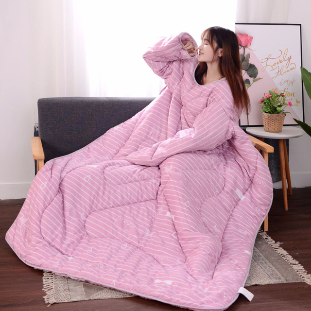 4353c92ce2a Winter Autumn Lazy Quilt With Sleeves Family Blanket Cape Cloak Nap Blanket  Dormitory Mantle Covered Blanket Office Driving Home-in Duvet Cover from  Home ...