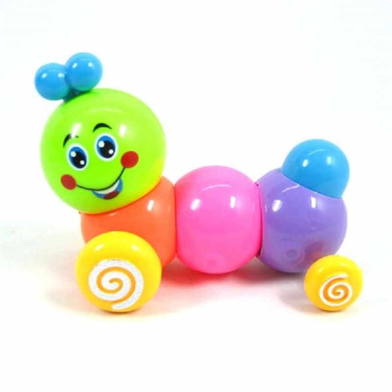 Yeni Kawaii Bebek Çocuk Bebekler için Komik Oyuncaklar Çocuk Wind-Up Oyuncaklar Renkli Parlak Döndür Caterpillar Rastgele Renk