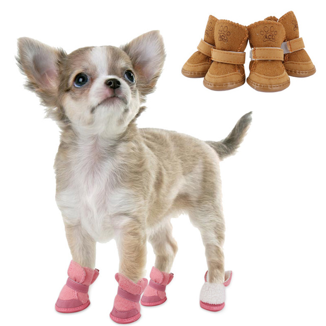 Winter Warm Dog Shoes Anti Slip Pet Shoes For Small Dogs Cats