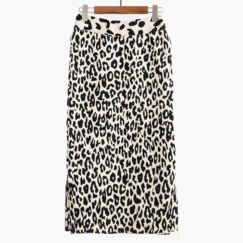8bc5d96e423c Flectit 2019 Animal Print Midi Skirt Women High Waist Side Split Soft Wool  Blend Leopard Bodycon