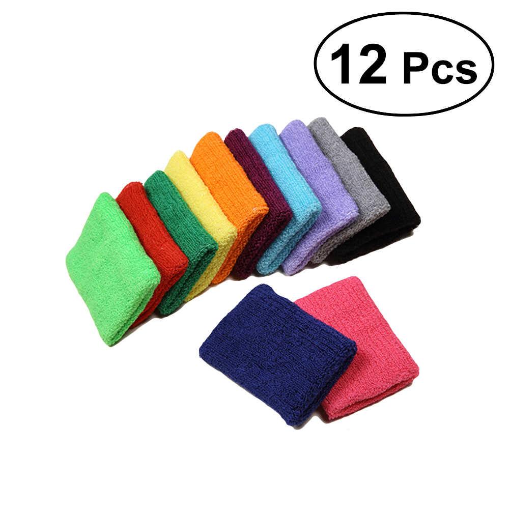 12 шт красочные напульсники махровая ткань хлопок спортивный напульсники защита запястья для спортзала Спорт Баскетбол