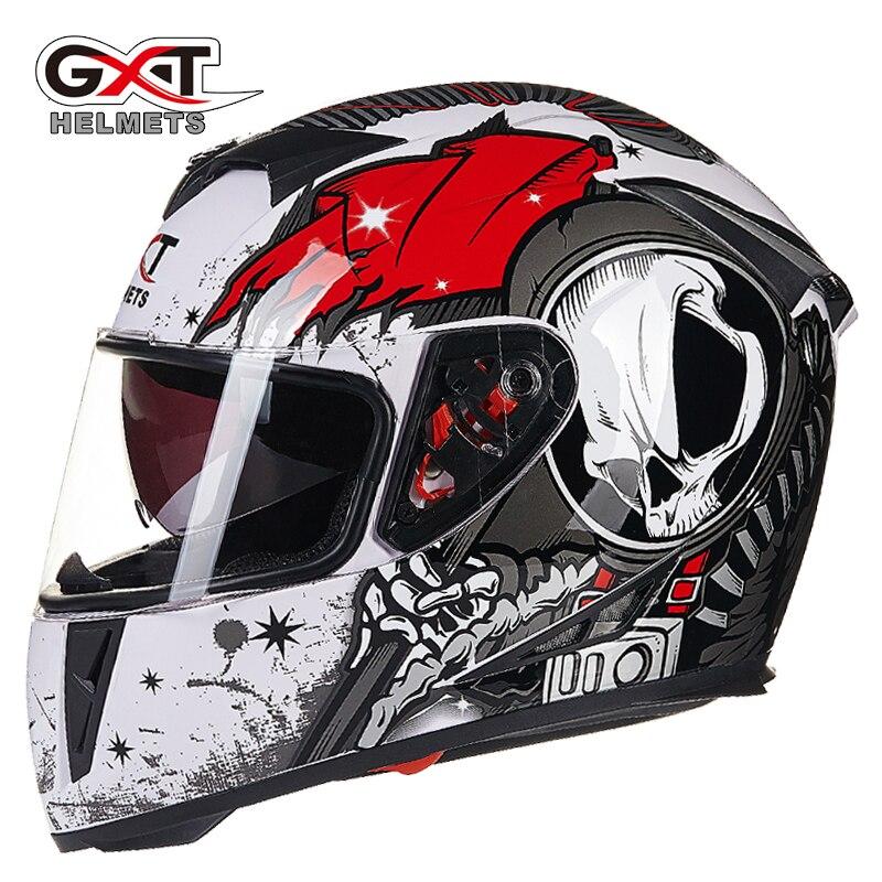GXT Motorcycle helmet Full Face skull Helmets double lenses Casco Capacete Moto Winter Racing Motorbike Motocross Helmet