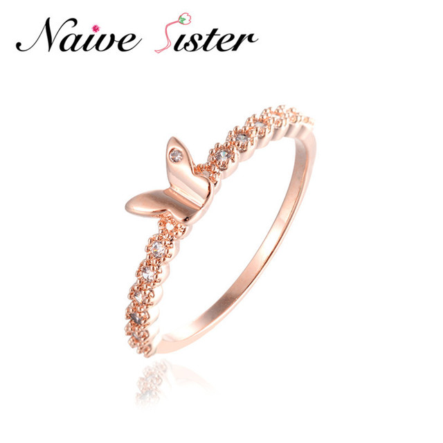 e2e1be95b New Fashion Cute Tiny Butterfly Ring Simple Design Rose Gold Color With AAA  Zircon Wedding Party Engagement Love Ring For Women