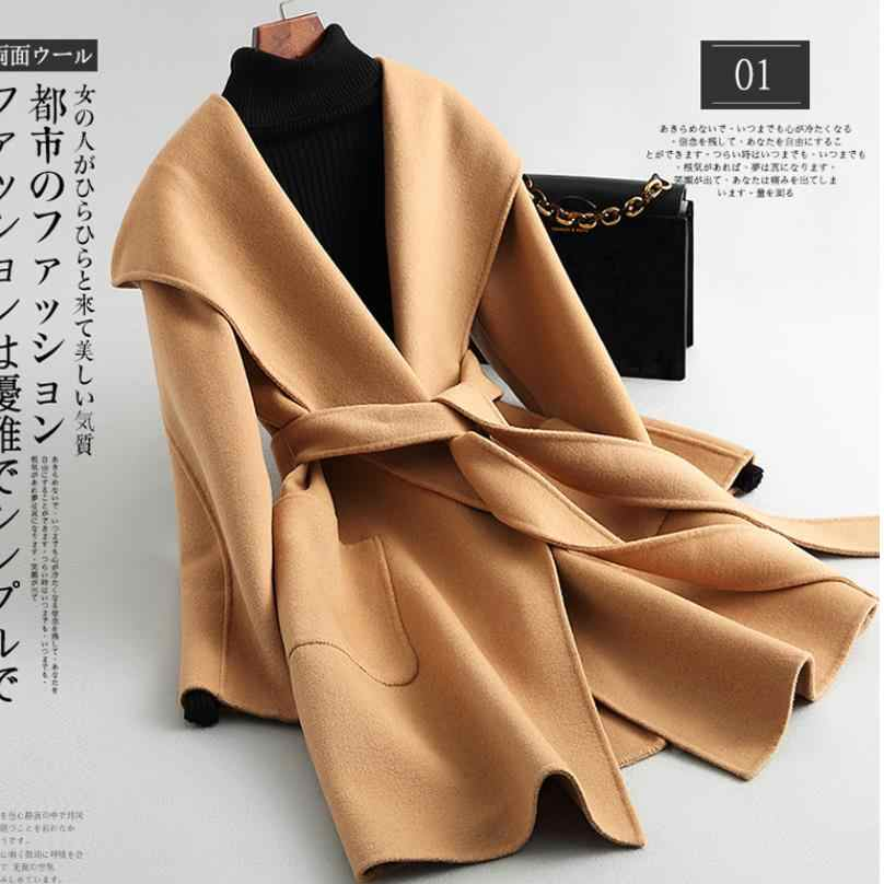 Autumn and Winter Pure Wool Coat Casual Hooded Cardigan Handmade Cashmere Double-Sided Jacket women