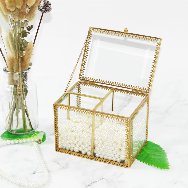 Rétro boîte de rangement en verre coton-tige coton Pad petite boîte transparente coiffeuse bureau finition boîte boîte de rangement