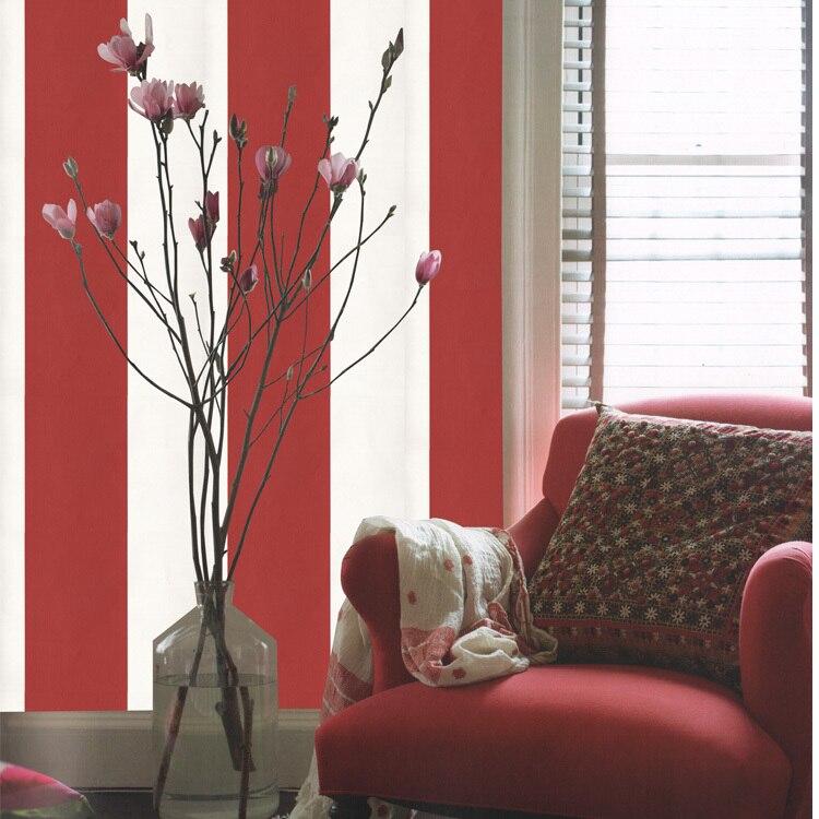 US $9.4 6% OFF|Heißer verkauf rot weiß gestreifte tapete moderne  schlafzimmer wohnzimmer TV sofa hotel restaurant hintergrund tapete  rolle-in Tapeten ...