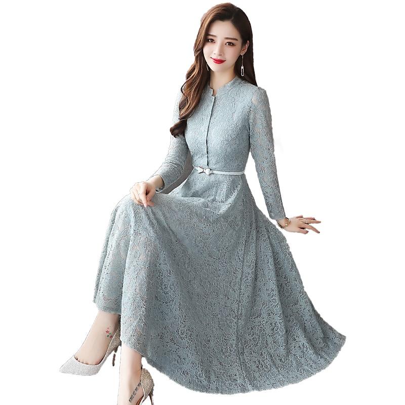 2019 été nouveau dentelle femmes robes vert longue A-ligne bureau dame élégante à manches longues creux sur sexy party robes top qualité - 5
