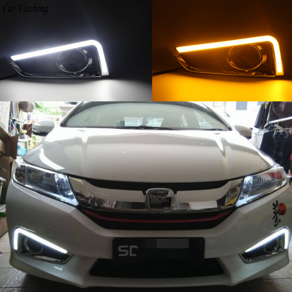 Car flashing 1set Car LED For Honda City 2015 2016 With Yellow Turning Function yellow car