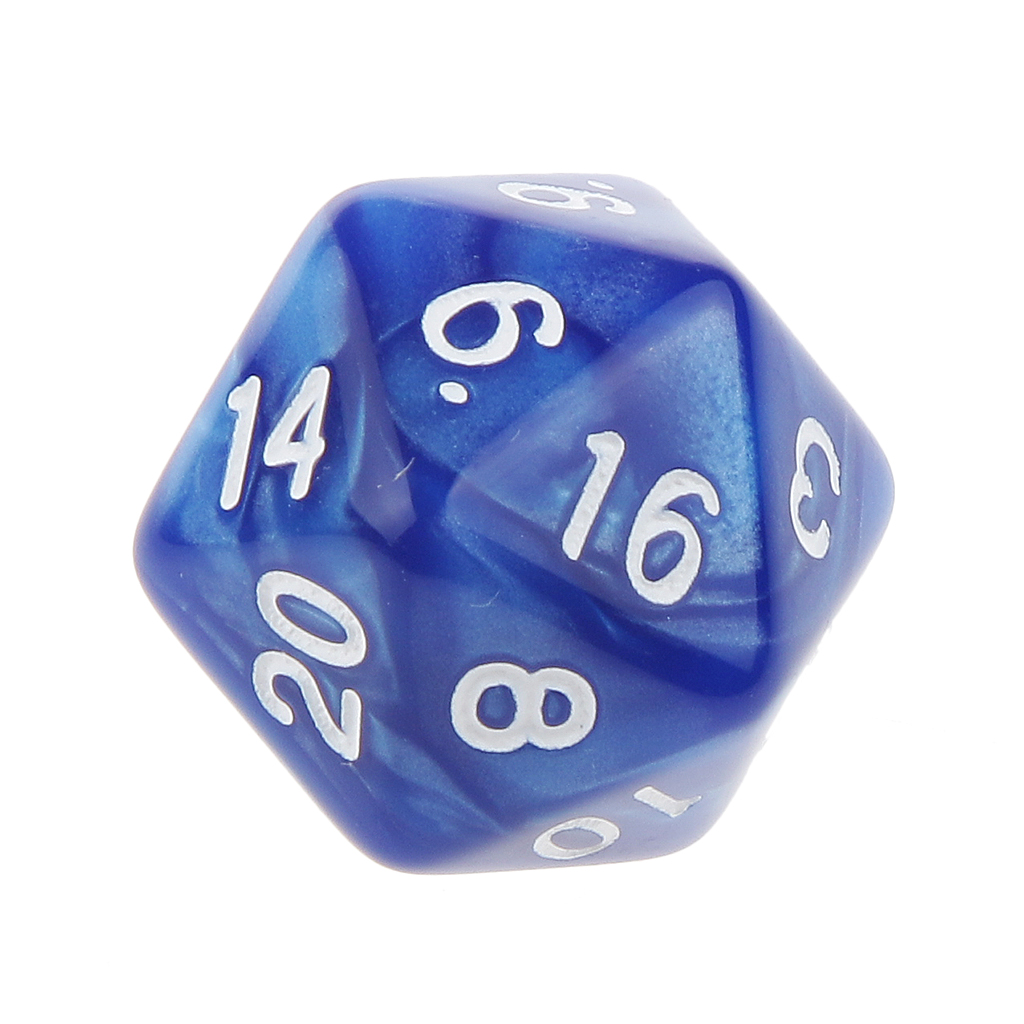 Pack of 10pcs Pearl Blue D20 Twenty Sided Game Dice D&D TRPG Games Party Supplies