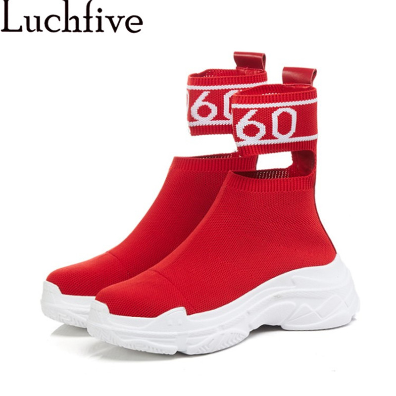 2018 red black Elastic Ankle Boots for Women platform flat heel sneakers Knitted casual shoes stretch cut out sock shoes women new classic flat heels elastic knee high boots for women knitted casaul shoes white black stripe platform sneakers sock shoes