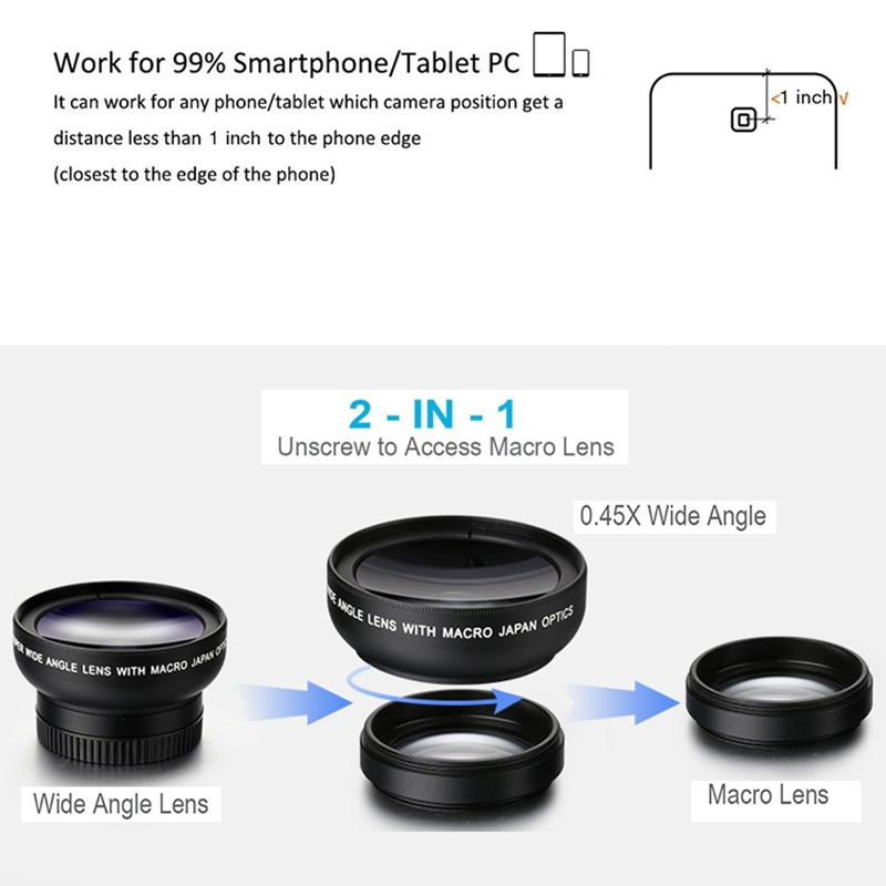 Image 4 - New HD 37MM 2in1 Lens 0.45X Wide Angle+12.5X Macro Lens Professional HD Phone Camera Lens for All iPhone and Android Phone-in Monocular/Binoculars from Sports & Entertainment
