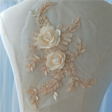 6 pieces Champagne 3D Flowers Lace Applique Unique Bridal Wedding Gown Embroidered Applique with Rhinestone 8 Colors