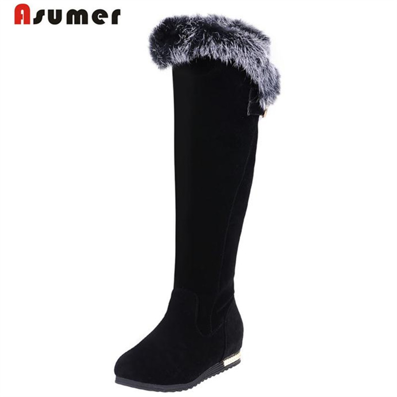 ASUMER Long knee high boots pu nubuckle leather boots women shoes big size 34-43 winter boots buckle fashion ...