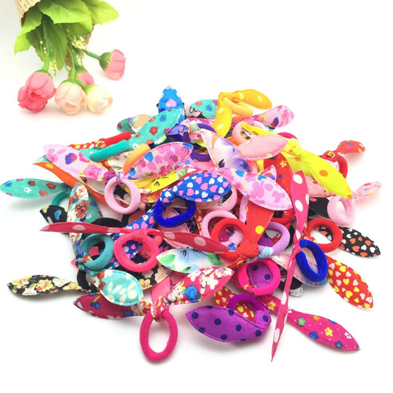 20pcs/lot Rabbit ears Hair band Children kids Hair Accessories Baby Elastic Hair Bands Rubber Band Girl's Headwear DropShipping 5pcs lot new kids small hair ropes candy colors elastic hair bands rubber bands girls ponytail holder hair accessories tie gums