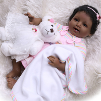 Black Skin Silicone cloth Body Reborn Baby Doll curls Newborn Babies soft Bebe ken Doll and White plush animal Toy for girl gift