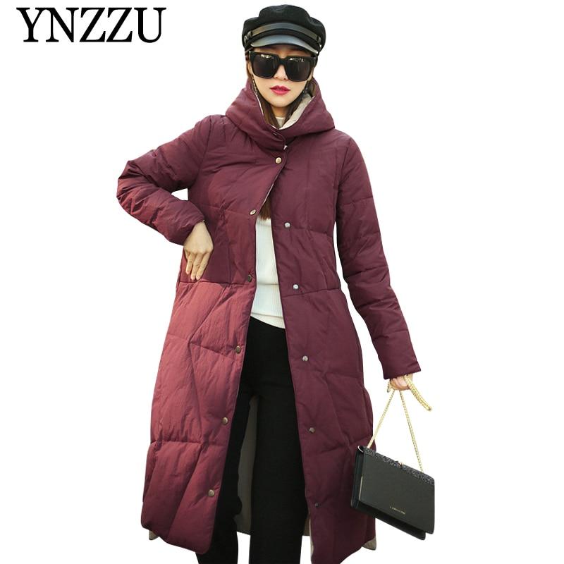 YNZZU Luxury Two side Women 90% White duck   down     Coat   2019 Winter Warm Long sleeve Hooded Outwear Solid Female Vintage YO893