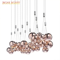 Nordic modern restaurant art lighting living room bedroom 3 heads bubble chandelier beauty salon engineering hall pendant lamp