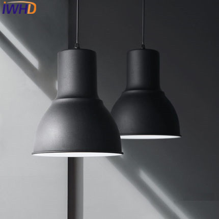 IWHD Iron Modern Pendant Lights Fashion Single Head Black Suspension Luminaire Dining roon Bar Handing Lamp Lighting Fixtures