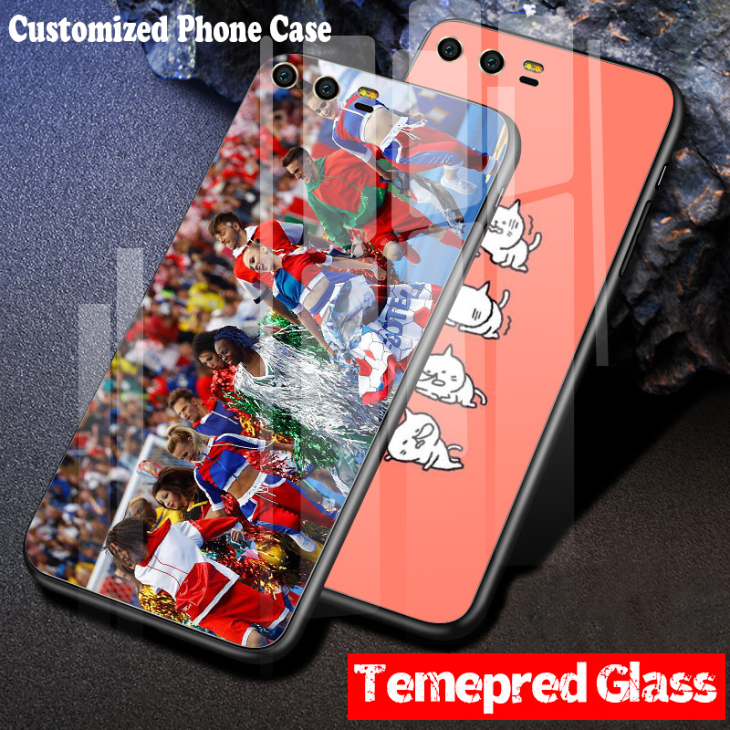 DIY Custom Design Phone Tempered Glass Case for Huawei P20 Pro P9 P10 Plus Mate 9 10 Lilte Honor 8X Nova 2S 7X V10 Hard Cover in Fitted Cases from Cellphones Telecommunications