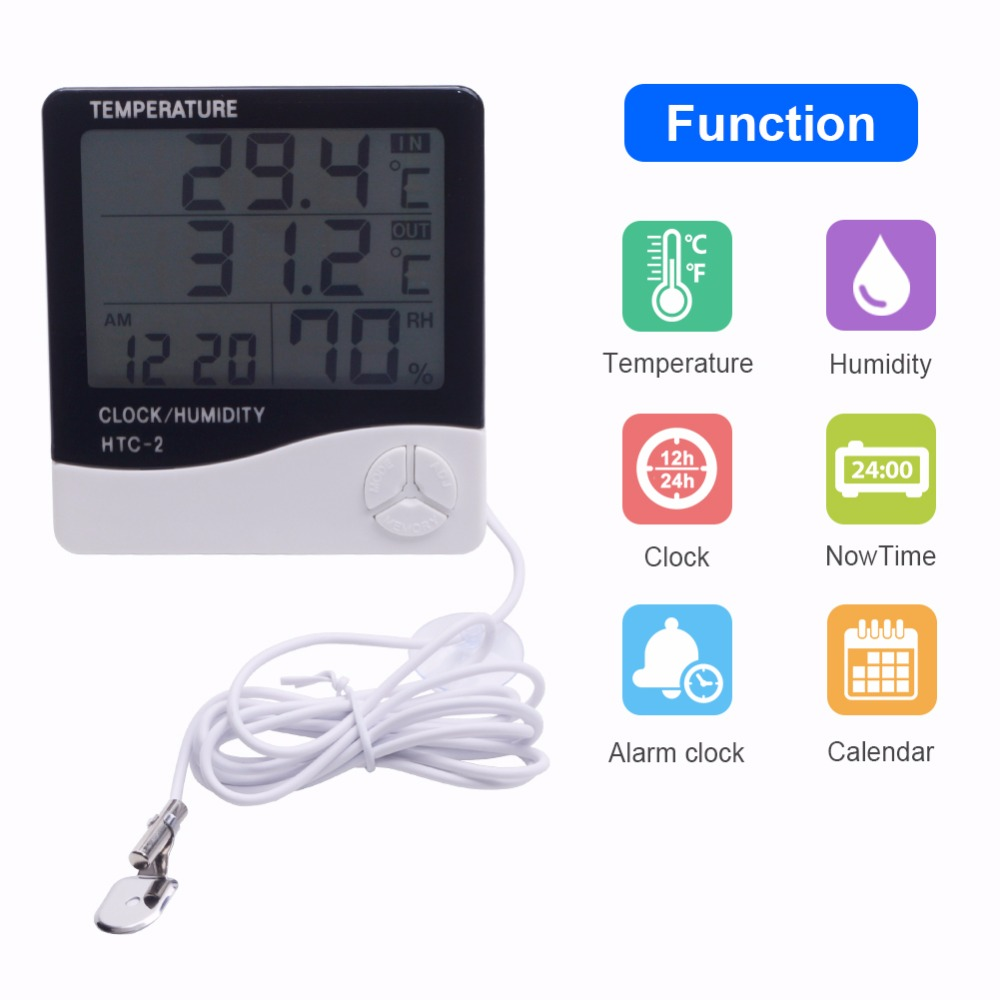 New Indoor Outdoor Thermometer Hygrometer Weather Station Wireless Temperature Humidity Tester Probe Clock Alar HTC 2