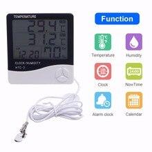 جديد داخلي مقياس حرارة خارجي الرطوبة محطة الطقس اللاسلكية درجة الحرارة جهاز اختبار الرطوبة التحقيق ساعة Alar HTC 2 10 قطعة/الوحدة